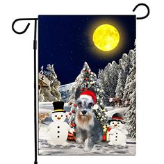 PrintYmotion Schnauzer Dog with Snowman Christmas Holidays Garden Flag, Dog Lovers Gift (12 x 18 Inches) PrintYmotion #Schnauzer #Dog Lovers gift #Christmas Gift #Christmas Flag