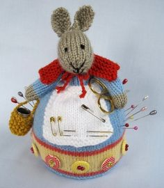 Knitting pattern for Rowena Rabbit pincushion