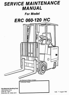 Original Illustrated Factory Workshop Service Manual for Yale Electric Forklift Truck.Original factory manuals for Yale Forklift Trucks, contains high quality images, circuit diagrams and instructions to help you to operate and repair your truck. All Manuals Printable and contains Searchable TextCov