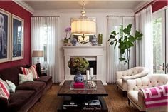 Sophisticated living room with hot pink!