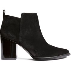 H&M Ankle boots ($45) ❤ liked on Polyvore featuring shoes, boots, ankle booties, black, black boots, black ankle boots, short boots, black bootie boots and high heel booties