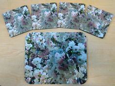 """SPRING FLORAL Dining Decor and/or Office Accessories by PonsArt $20.00+. Springtime is here! The Placemat/Mousepad measures 9.25"""" x 7.75""""; the square coasters are 4"""" x 4""""; separately or as 'set'; ships free in 3-5 business days."""
