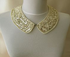 Pearl Embroidery Peter Pan Collar NecklaceVintage by aynurdereli, $67.00  #unique #Embroidery #collar