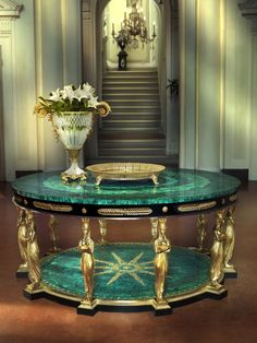 BALDI Home Jewels Round Table 10 Caryatids With Black Apron, Malachite Top & Base With 24Carat Heavily Goldplated Bronze