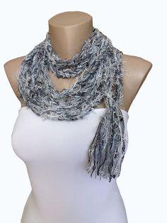 Gray Infinity Scarf Chain Necklace Chain Scarf Crochet by atinqnka, $18.00