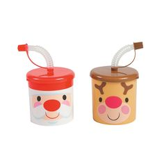 Cheery Christmas Cups With Lids & Straws - OrientalTrading.com