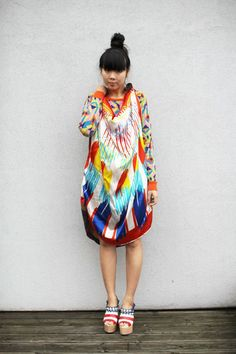 Style Crush | Style Bubble  Susanna Lau aka Susie Bubble of Style Bubble is my fashion hero! She is so amazing at combining colours, patterns and her DIY projects always get bookmarked. In fact, the dress she's wearing in this pic is a DIY too - just click through on how to make it. Plus I'm thinking that I need to get a blunt fringe too now…
