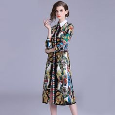 Color : Multi Color Material : Lanon , Polyester Pattern Type : Print Style : Vintage Neckline : Turn-down Collar The post Boho Loose Waist Midi Party Maxi Dress appeared first on Power Day Sale. Bodycon Outfits, Maxi Outfits, Bodycon Dress, Fall Dresses, Evening Dresses, Girls Dresses, Dresses For Work, Vintage Dresses, Vintage Outfits