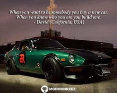 """Well said sir well said @gonestra. Regram from the owner of this 1974 260Z known as """"The Hulk Machine."""" #quotes #datsun #s30 #datsungarage #datsuncar #260z #datsun260z #atara #hulkmachine"""