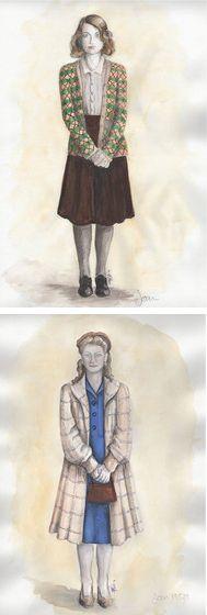 Costume renderings for Keira Knightley's character Joan in 'The Imitation Game' (2014). Costume Designer: Sammy Sheldon