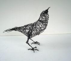 CROW Looks UP - Life Sized - Original Handmade Wire Bird Sculpture. $115.00, via Etsy.