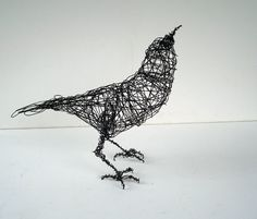 CROW Looks UP - Life Sized - Original Handmade Wire Bird Sculpture. $115.00, via Etsy.