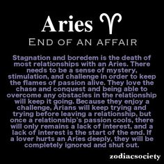 Aries and the end of an affair.