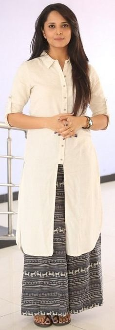 A pretty white kurta and black palazzo pant. Revathy [[ ༻♡ღღ ~kurti Inspiration╭✧❤]]