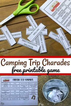 This camping charades game is sure to entertain! Print our free game board and enjoy the camping themed prompts! Camping Party Games, Camping Games For Adults, Camping Activities For Kids, Camping Crafts, Camping With Kids, Family Camping Games, Campfire Games, Retro Camping, Camping Snacks