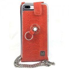 Funda iPhone 8 Plus elegante piel de pata de avestruz Naranja. Finger 360 #funda #avestruz #anticaidas #anillo #Finger360 #piel #naranja #8plus #iphone8plus