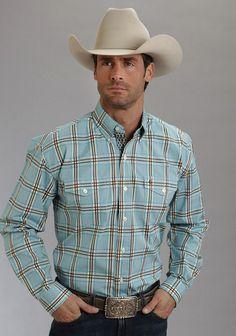 Stetson Mens Blue 100% Cotton L/S Gate Plaid Satin Button Western Shirt