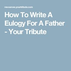 How to write a eulogy for mom