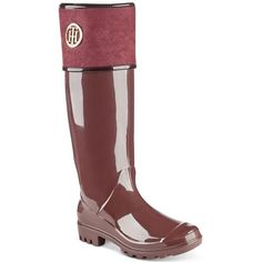 Tommy Hilfiger Shiner Rain Boots (1.635 CZK) ❤ liked on Polyvore featuring shoes, boots, dark red, tommy hilfiger footwear, wellies shoes, wellington boots, dark red boots and tommy hilfiger shoes
