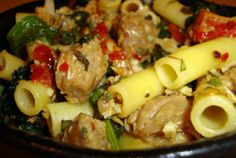 Jenny Pasta––mustard greens, garlic, and veggie sausage mixed with yummy pasta!