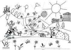 Forradalmi kifestők Vámos Robitól Doodle Drawings, Little People, Coloring Pages, Origami, Vintage World Maps, Kindergarten, Crafts For Kids, Tapestry, Pattern