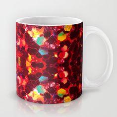 Red abstract hexagon mosaic shiny glitter pattern Mandala Coffee Mug by Glitter Bath Bomb, Glitter Lipstick, Glass Water Bottle, Iron On Vinyl, Coffee Mugs, Coffee Lovers, Bath Bombs, As You Like, Different Colors