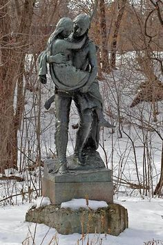 """Hiawatha Carrying Nokomis....""""Thus the youthful Hiawatha   Said within himself and pondered,   Much perplexed by various feelings,   Listless, longing, hoping, fearing,   Dreaming still of Minnehaha,   Of the lovely Laughing Water,   In the land of the Dacotahs.""""     ~Henry Wadsworth Longfellow in """"The Song of Hiawatha"""".  Longfellow never visited the falls himself. He was inspired by the stories of Mary Eastman and Henry Rowe Schoolcraft and images of the falls."""