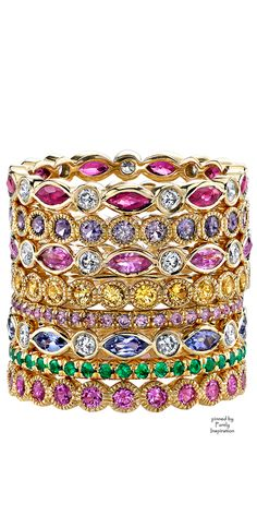 Erica Courtney Gemstone Bands (Ruby,  Diamonds, Lavender Sapphire, Pink Sapphire,Yellow Sapphire,  Tanzanite,Tsavorite, Yellow Gold) | Purely Inspiration