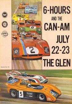 Vintage Reproduction Racing Poster 1972 Watkins Glen CanAm Racing Can Am, Vintage Trucks, Vintage Racing, Real Racing, Auto Racing, Porsche, Car Prints, Automobile, Mclaren Cars