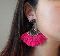 Brinco Leque Rosa Pink