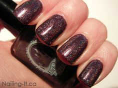 Enchanted Polish - Dream On Swatch (Dark Purple Holographic nail polish)