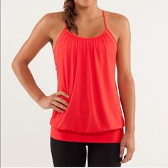 Lululemon no limits tank Red slopes, excellent condition aside from an initial, as shown its on the inside so not visible when wearing. lululemon athletica Tops Tank Tops