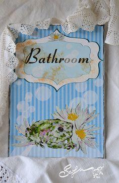 Bathroom-ritratto di rospo-decoro bagno blu-ninfee di SafuArt