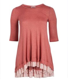A lace-trimmed hem adds a touch of feminine charm to this tunic in a bold solid hue. Coral Lace, Lace Ruffle, That Look, Feminine, Tunic Tops, Dark, Hot, Shopping Deals, Clothes