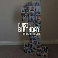 Need ideas for First Birthday Decoration, a picture collage and a big number 1 - how to guide included. #diy #birthday #birthdaydecor  #birthdayideas #firstbirthday