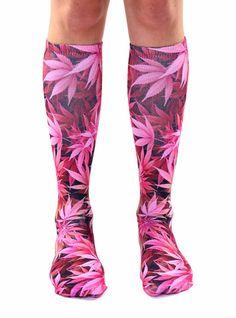 Pink Weed Knee High Socks