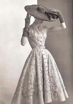 A breath-taking example of vintage fashion and lace...two of our favorite things! Visit our website to see our genuine 50s sewing patterns http://webstore.quiltropolis.net/stores_app/Browse_dept_items.asp?Shopper_id=68942512147689&Store_id=198&page_id=17&Sub_Department_ID=384&categ_id=384&parent_ids=0&page_viewall=Y&sNode=&Exp=Y&Search_Dept=&Search_Text=&Search_Sku=