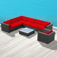 Luxxella Outdoor Patio Wicker DUXBURY Red Sofa Sectional Furniture 8pc All Weather Couch Set Curbside delivery with signature required (We have nine different colors available. Check out our other products.). 8pc Set consists of 3 Corner sofas + 3 Middle Sofas + 1 Coffee Table + 1 Tempered Glass Table Top + 1 Arm Chair. Factory Direct Price (MSRP $2449.00). All Luxxella Collection are exclusively ... #Luxxella #Lawn_&_Patio