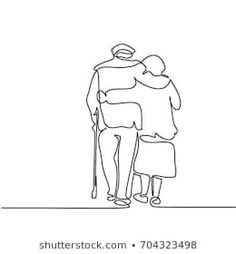 Continuous line drawing. Happy elderly couple hugging and walking. Simple Line Drawings, Easy Drawings, Hipster Drawings, Abstract Line Art, Abstract Drawings, Art Abstrait Ligne, Back Drawing, Drawing Hands, Hugging Drawing