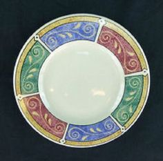 """Majesticware By Oneida Stoneware Persia Pattern Salad Plate 7-3/4 """".Another great fin and awesome beautiful art work designed by Sue Zipkin Got 4 plates. no chips cracks ............"""