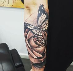 e4bb5a42b Rose And Butterfly Tattoo, Tatoo Rose, Butterfly Mandala Tattoo, Butterfly  Tattoos For Women