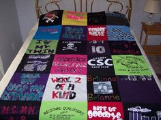 I've kept my girls cheerleading and school t shirts and my sons shirts from All his sports and HS and I plan on adding their college tees and other favorites and making them each a keepsake quilt of their life....hopefully to give them when they get married.  Love this idea. :)