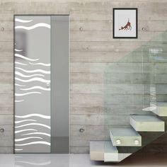 Eclisse 10mm Alga Sandblasted Design on Clear or Satin Glass Syntesis Pocket Door.    #glassdoor  #framelessglassdoor  #pocketglassdoor