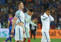 Gary Cahill (left) Dele Alli (centre) and Ryan Bertrand trudge off the Allianz Riviera pitch after losing England National Football Team, National Football Teams, England Euro 2016, Gary Cahill, Jamie Redknapp, Dele Alli, England Players, Kyle Walker