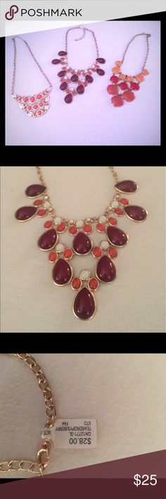 Statement Necklace bundle Three statement necklaces, all maroon and orange. One necklace has tags and has never been worn, other two are in great condition. Buy one get two free Jewelry Necklaces