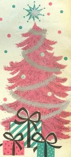 Pretty vintage Christmas card with pink tree and cute gifts.