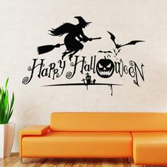 Removable Living Room With Halloween Background Wall Sticker And Yeloow Sofa Above Wooden Floor