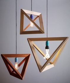 Geometric DIY wood hanging lamp design, triangle, tetraeder shaped origami structure organic wooden frame light concept design, triangular ceiling lamp with different light bulbs, design lamp, modern lamp design for loft interior  3876_566687703439439_1515807179_n.jpg 500×588 pixels