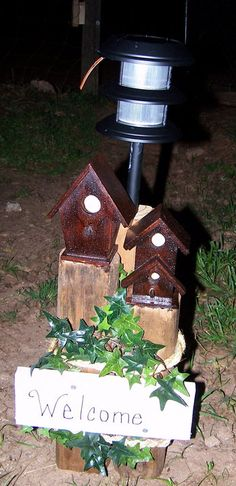 another solar light stand I put together. - another solar light stand I put together. Outdoor Crafts, Outdoor Projects, Diy Craft Projects, Wood Projects, Outdoor Decor, Outdoor Living, Landscape Timber Crafts, Landscape Timbers, Solar Light Crafts