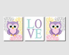 Owl Nursery Art Baby Girl Nursery Decor by LovelyFaceDesigns